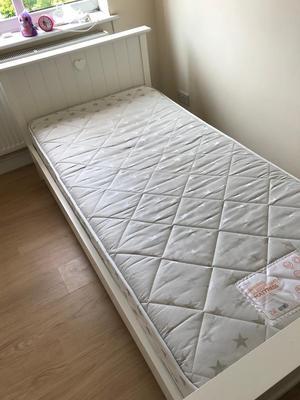 Kids White Wooden Bed & Mattress