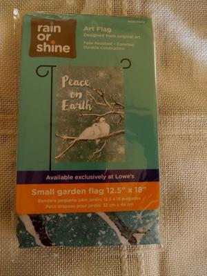 "PEACE ON EARTH 12.5"" X 18"" GARDEN FLAG RAIN OR SHINE WINTER"