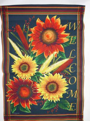 "TOLAND Garden Flag Sunflowers Welcome 12.5 X 18"" Decorative"