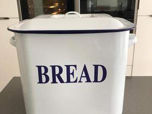 Vintage style enamel bread bin