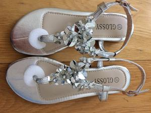 Women's silver sparkle shoes sandals Brand new in box