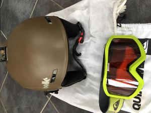 Bolle ski helmet and Quiksilver goggles