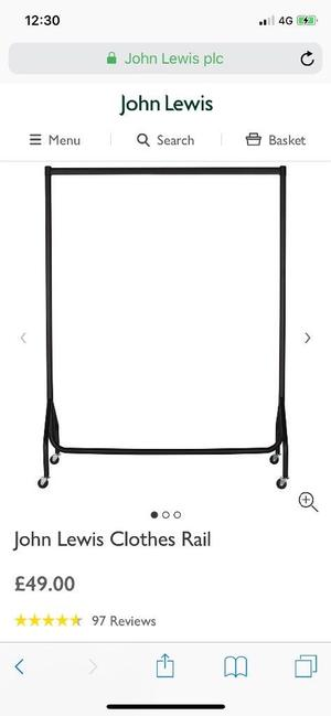 John Lewis clothes rail. Almost new. Hardly used. Excellent condition. £30 NO OFFERS. CAN DELIVER