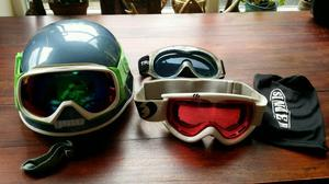Snowboard helmet +3 pairs of goggles