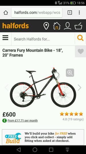 "Carrera fury mountain bike 20"" frame BNIB"