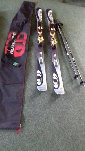 Skis, poles & bag