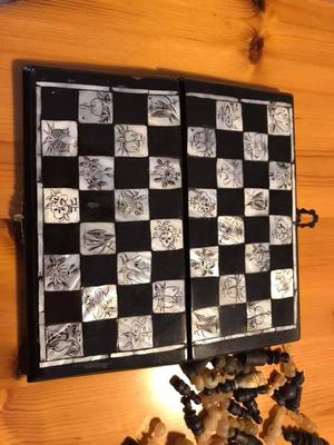 Beautiful mother of pearl chess set