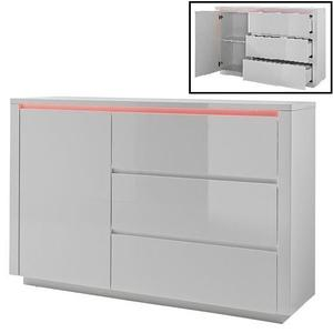 Chique 3 Drawers Chest In White High Gloss With LED Lighting