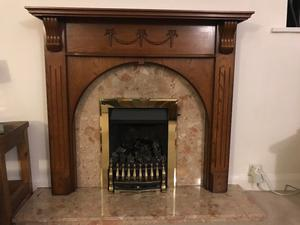 Gas Fire, surround, mantel and hearth for sale