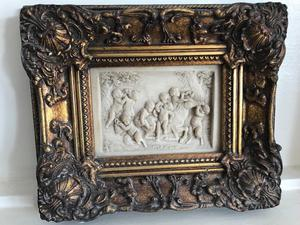 Vintage plaque in gold gilded frame,probably french