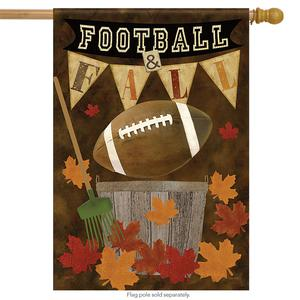 "Football Fall House Flag Autumn Leaves Decorative Sports 28"""