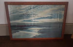 Peter Scott 'Brent geese flying over a Mackerel sky' framed print art