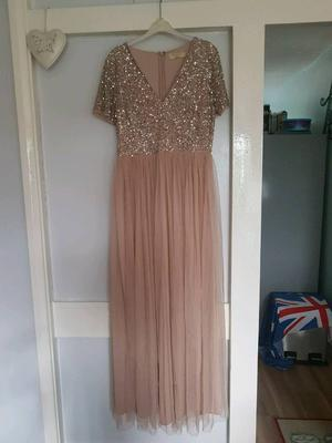 TAUPE Maya v neck maxi tulle dress with tonal delicate sequins in Size 14