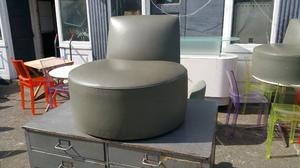 Tacchini baobab olive green leather chair