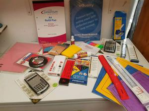 Various stationery, GCSE & A Level books for sale