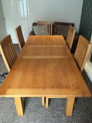Next Extending Oak Dining Table and High Back Chairs