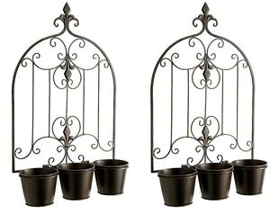 Set of 2 x Gardman Versailles Triple Pot Wall Planters -