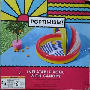 Poptimism! Inflatable Swimming Kiddie Pool w/ Canopy Shade