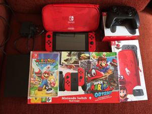 Nintendo Switch Console + Mario odyssey + Mario rabbids + pro controller
