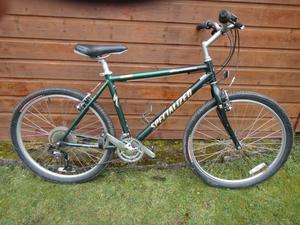 Specialized expedition bike, 26 inch wheels, 21 gears, 19 inch lightweight aluminium frame, green
