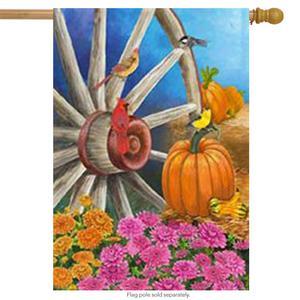 Autumn Wagon Wheel House Flag Pumpkin Cardinal Fall by