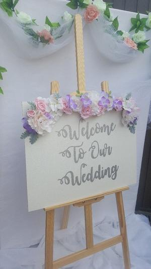 Hand made and decorated wedding signs, mirrors and frame.