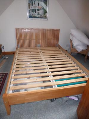 IKEA double bed in solid wood and mattress.