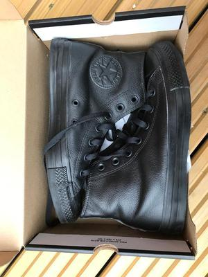 Converse size 5 Black leather with box