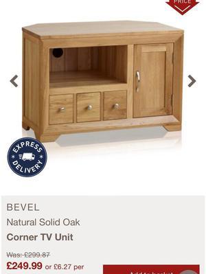 Solid oak entertainment unit