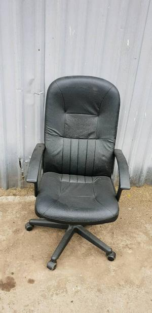 Black Faux Leather Office Chair