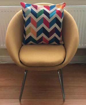 Yellow hygena fabric pod chair hardly used basically brand new. WORTH £100 !!!