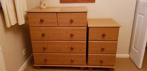 2 pine chest of draws
