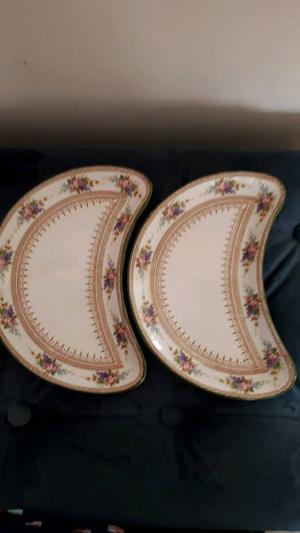 2 vintage royal doulton moon plates