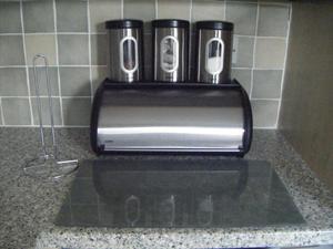 Addis breadbin, storage canisters, worktop saver & kitchen