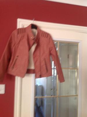 Girls faux leather biker jacket zip up front & pockets, fur lined. Age  yrs