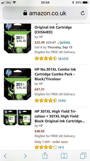 HP ink cartridges all original and in the box