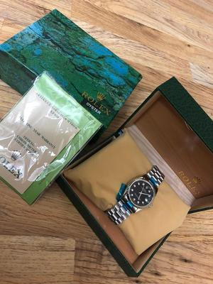 ROLEX DATEJUST FULL AUTOMATIC SILVER BLACK FACE WATCH - BRAND NEW WITH BOX & PAPERS