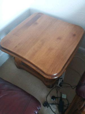 Solid oak coffee table and side table