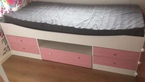 White & Pink single Cabin bed with x2 single IKEA basic mattresses
