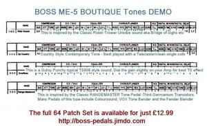 4 Great SOUNDS FROM THE BOSS ME-5 Boutique Tone set for Just