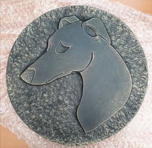 CONCRETE GOLD EFFECT GREYHOUND STEPPING STONE
