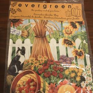 Evergreen Garden Flag Harvest Fall Cat Satin Reflections