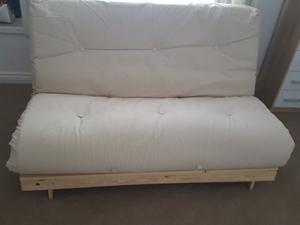 For sale, Sofa bed futon, new, natural and pine, double, buyer collects £50