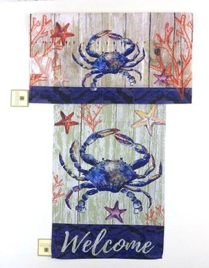 Lot of 2 Evergreen Decorative Welcome Crab Flag Match
