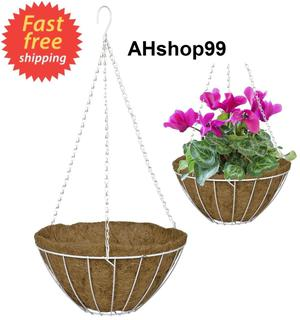 "Plant Hanging Basket White 12"" Growers Style +Coco Liner"