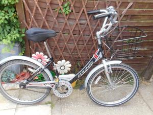 ladies black and silver ammaco 16 inch frame bike with basket and lock