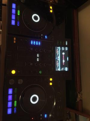 Pioneer XDJ RX with headphones, cover and carry case