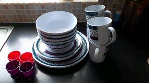 16 piece melamine dinner set and 4 plastic egg cups