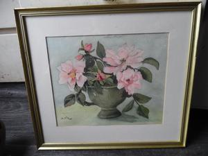Framed Picture of Flowers in Vase by D M........,.