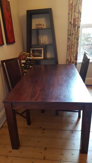 Solid Indonesian dark wood table and chairs
